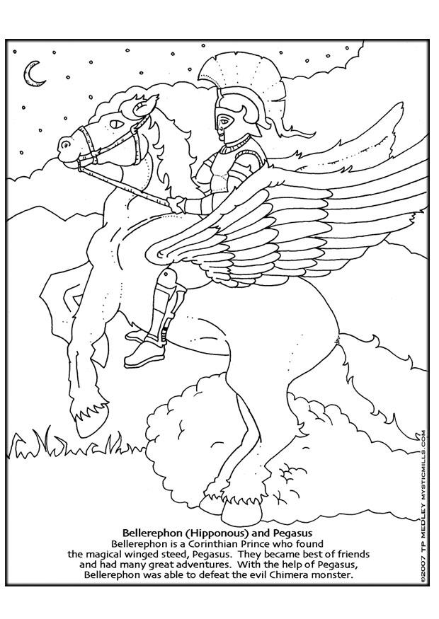 Coloring page Bellerephon and Pegasus - img 18609.