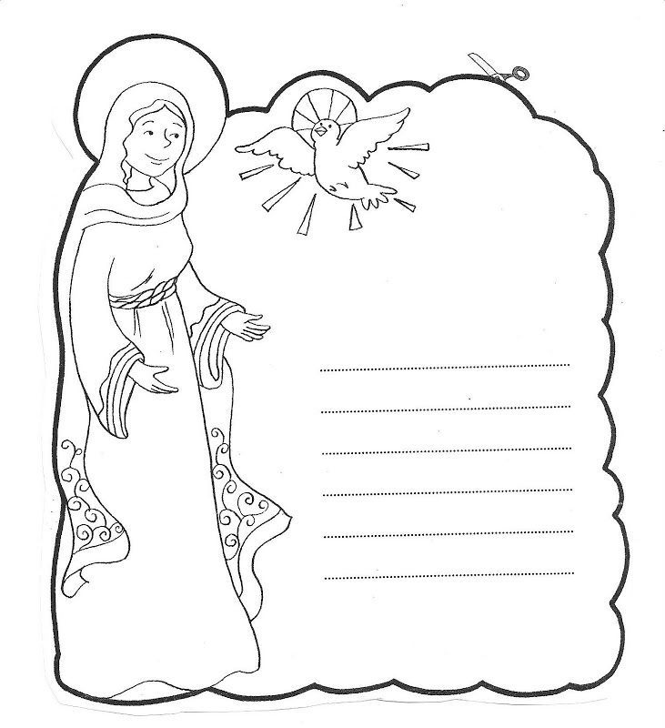 Letter to Mary coloring pages | Mother Mary and Rosary