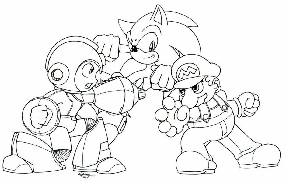 sonic and mario coloring pages to print