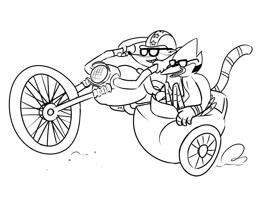 show coloring pages - regular show mornaci and rigbe free coloring pages