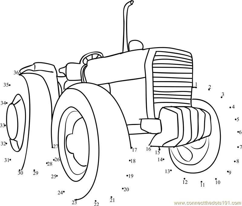 Tractor Coloring Pages Pdf : Connect the dots farming tractor transporation gt