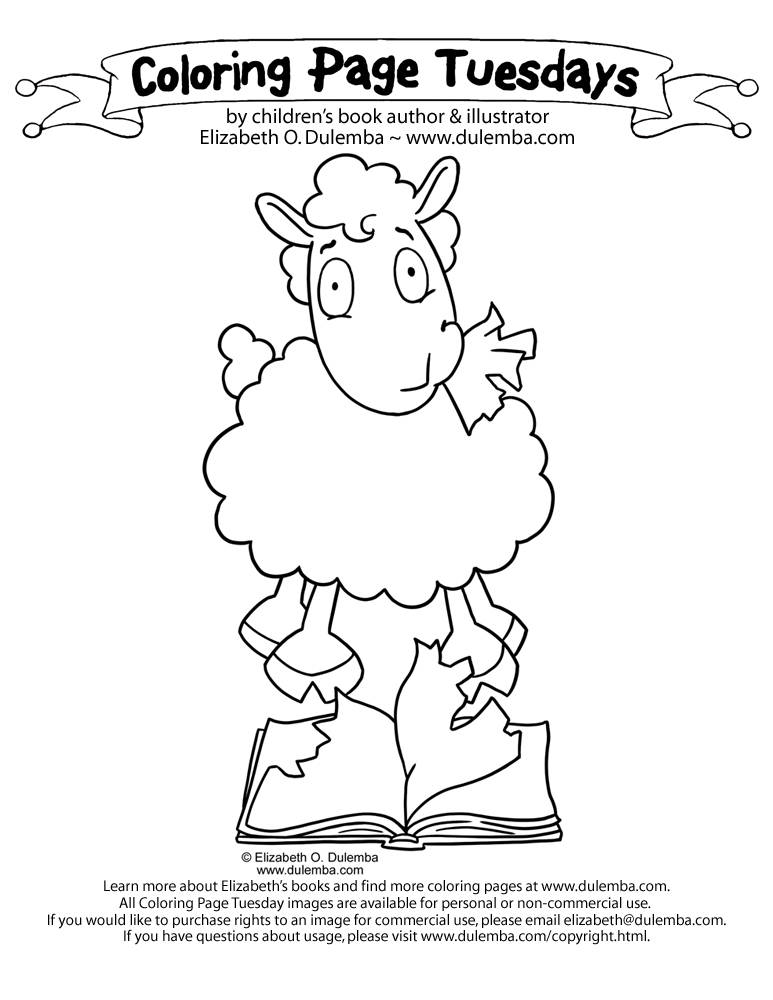 dulemba: Coloring Page Tuesday - Reading Sheep?