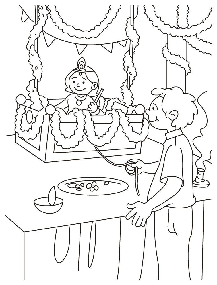 Laddu Gopal Coloring Page