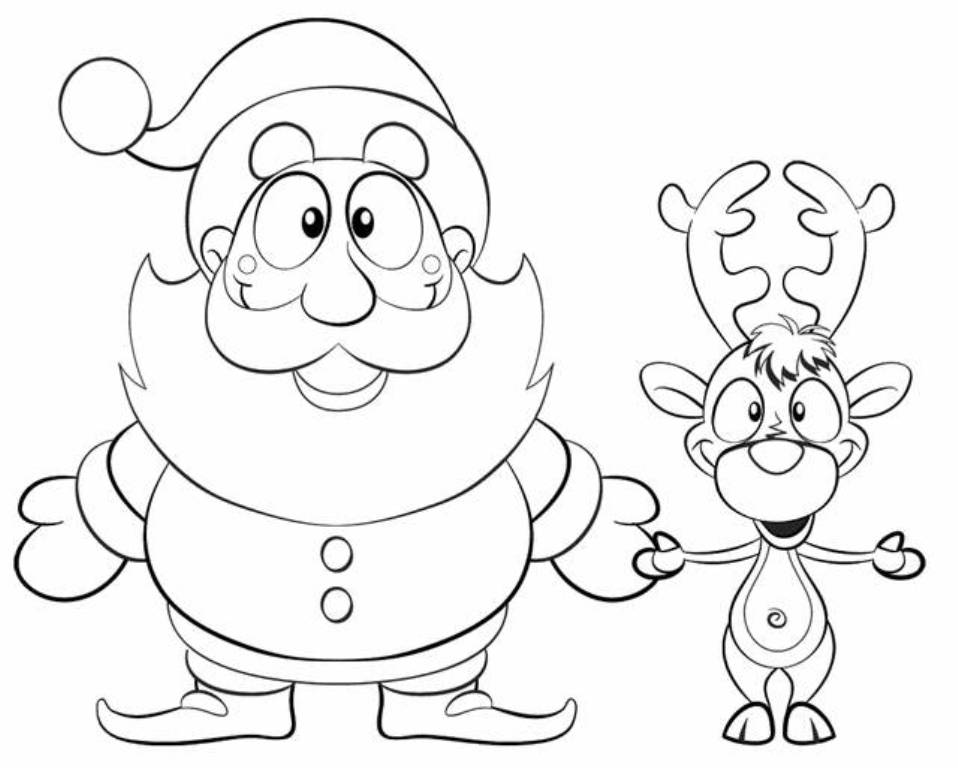 download xmas santa reindeer coloring pages or print xmas santa