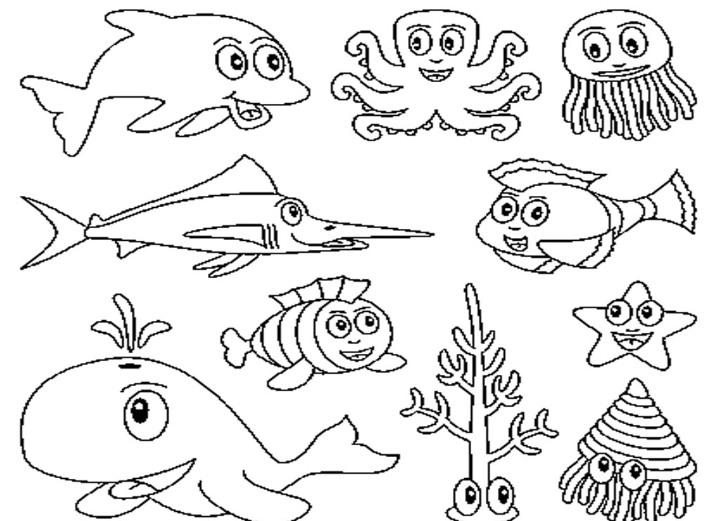 Sea Animals Coloring Pages For Kids
