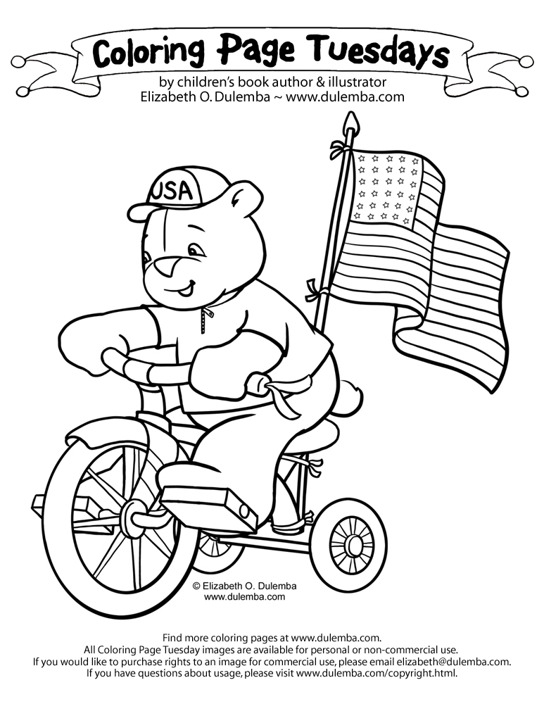 dulemba: Coloring Page Tuesday! - Bicycle Bear, Happy 4th!