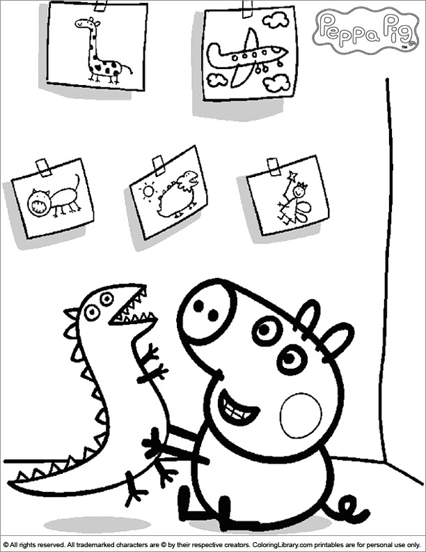 George playing with his dinosaur - Peppa Pig coloring page