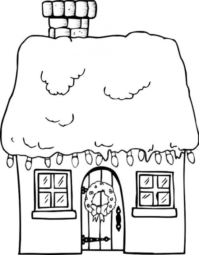 Download House Christmas Winter Coloring Page Or Print House