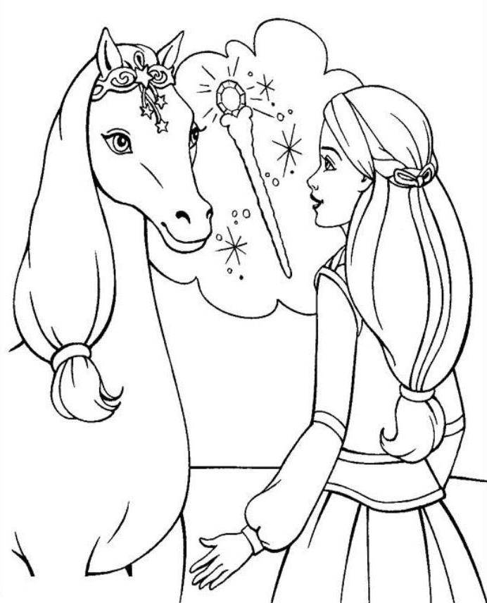 Print Barbie Horse Coloring Page or Download Barbie Horse Coloring