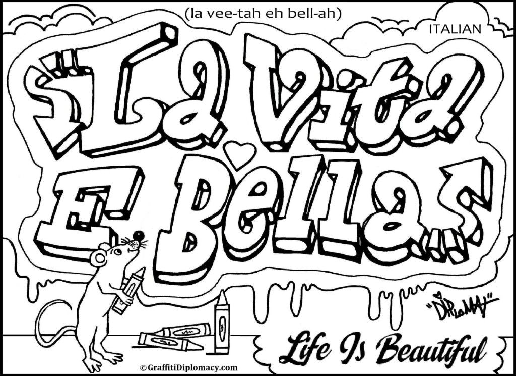 Graffiti read Colouring Pages
