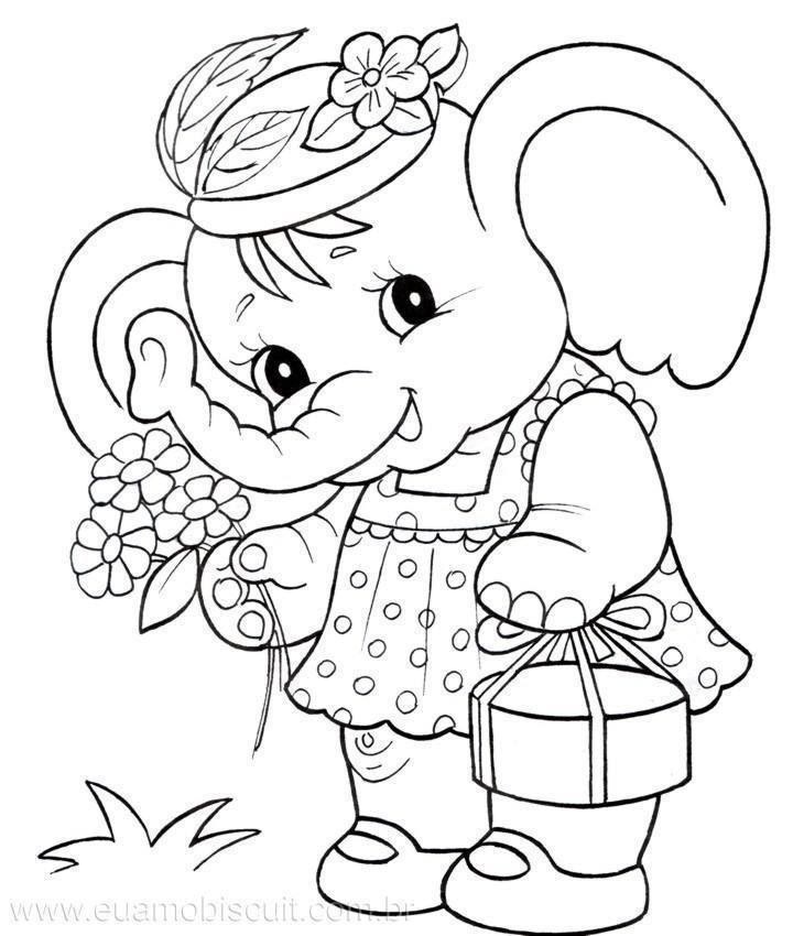 Picture Of An Elephant To Color  Coloring Home