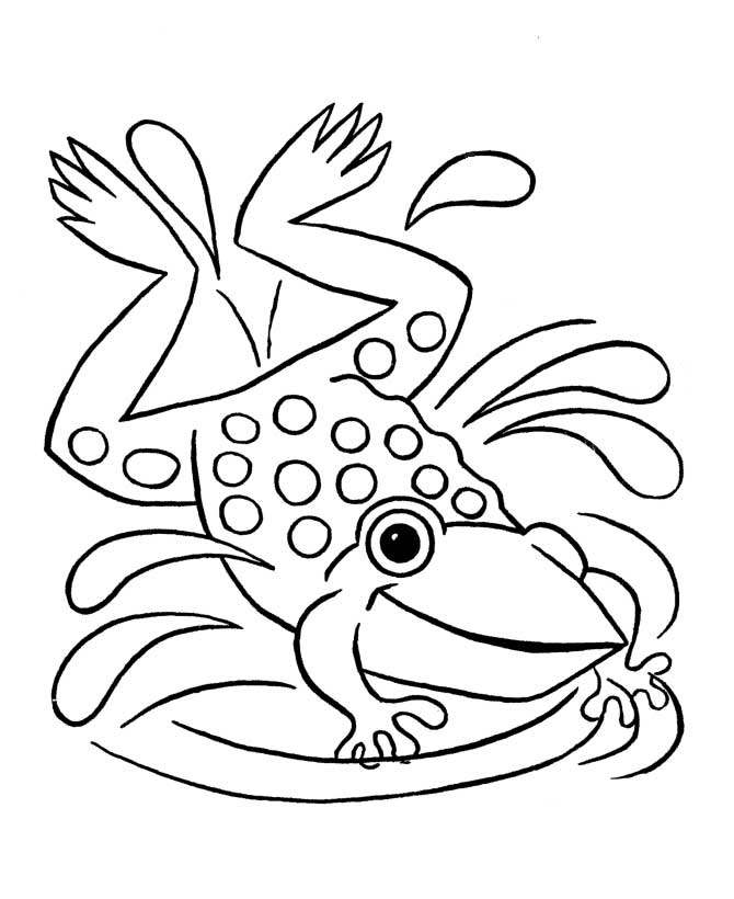 Frog Spalshing on Water Coloring Page: frog-spalshing-on-water
