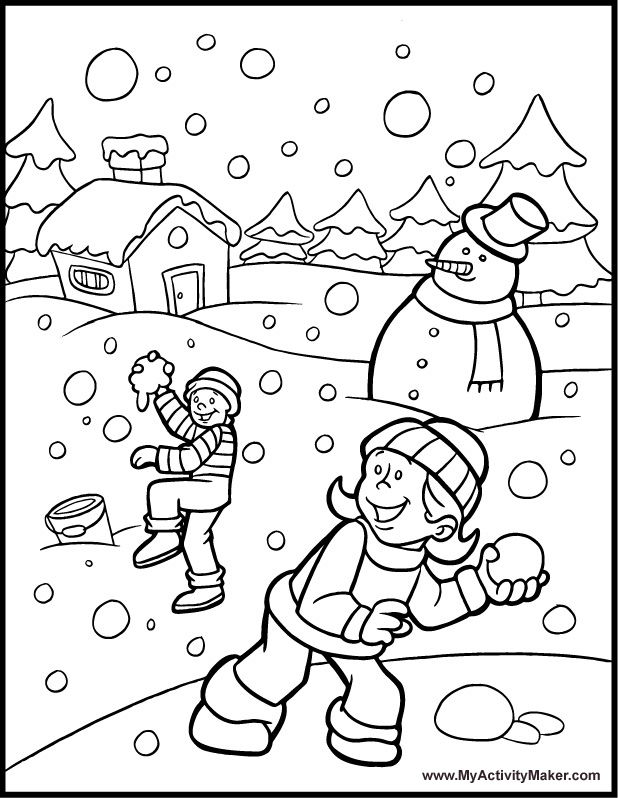 Snowy Day Coloring Pages AZ Coloring Pages