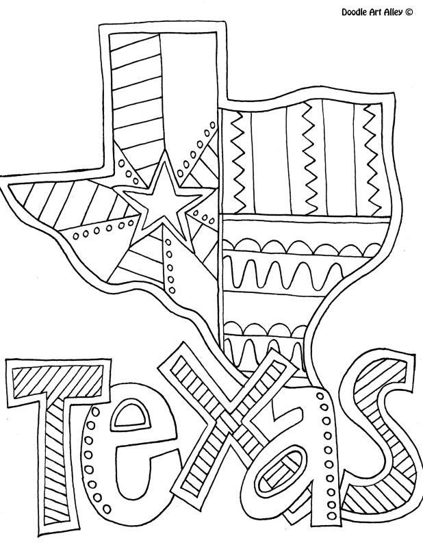 Texas coloring page by doodle art alley i love free for Free doodle art coloring pages