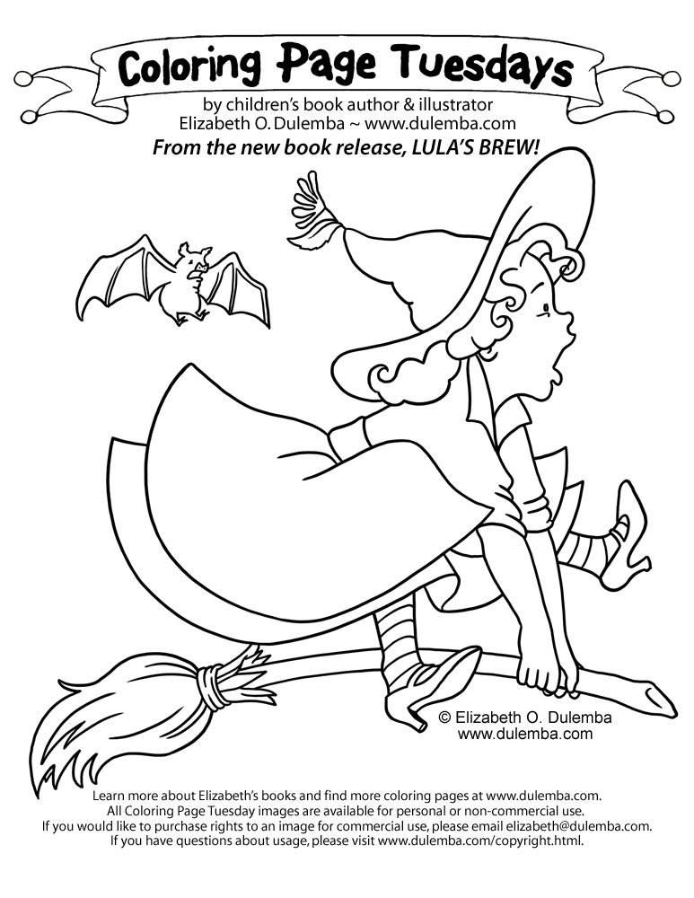 dulemba: Coloring Page Tuesday - Lula on a broom