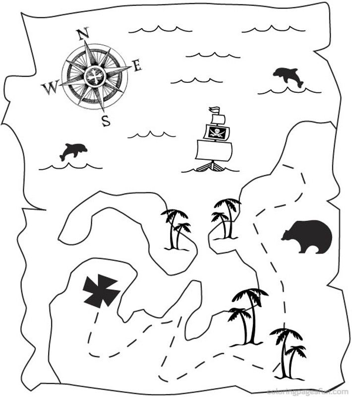 Pirate treasure coloring pages - photo#40