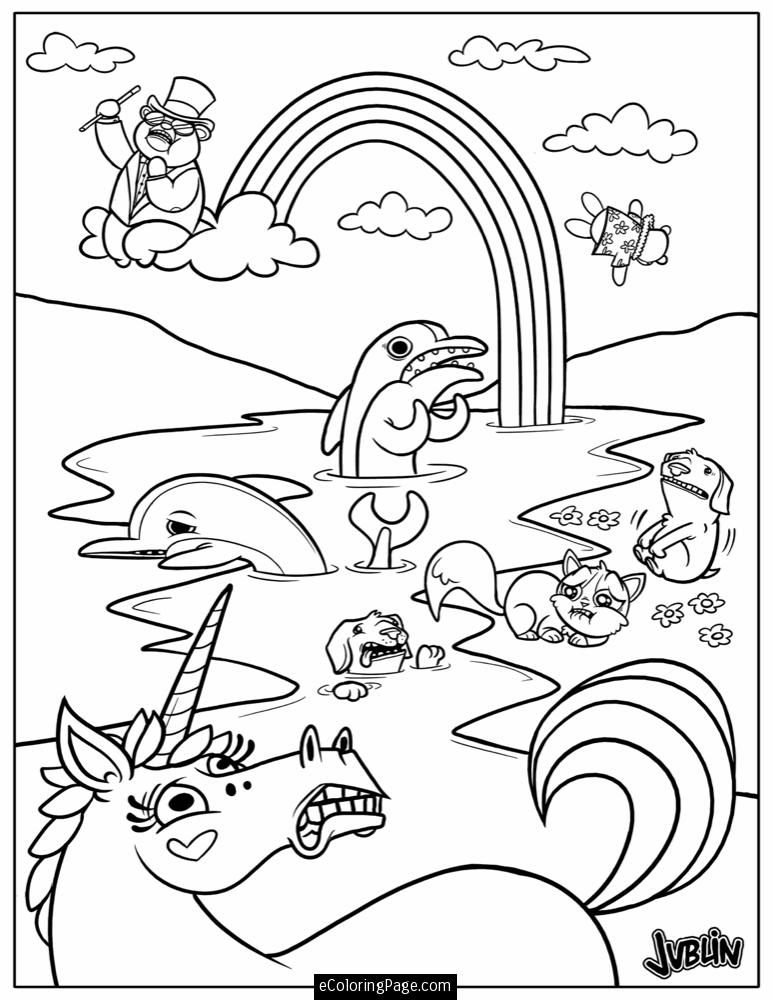 Animals Unicorn and Rainbow Coloring Page Printable