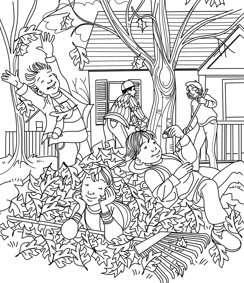 Fun in the leaves by maurie jo manning hidden pictures for Coloring pages for adults with hidden objects