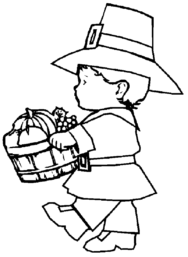 Thanksgiving Pilgrim Harvest Coloring Pages Printables 2