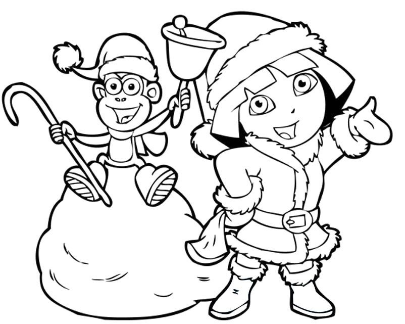 Dora And Boots In Christmas Coloring Pages - Dora Coloring Pages