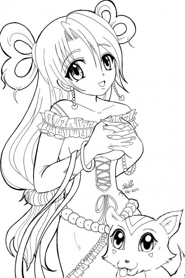 cute anime coloring pages - photo#11