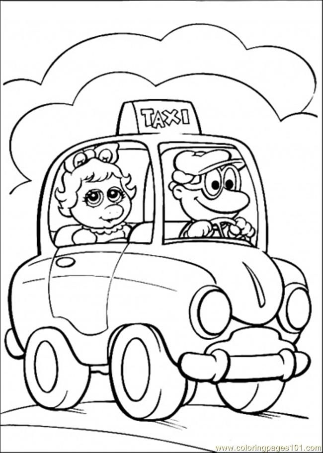Coloring Pages She Is Riding Taxi (Cartoons > Muppet Babies