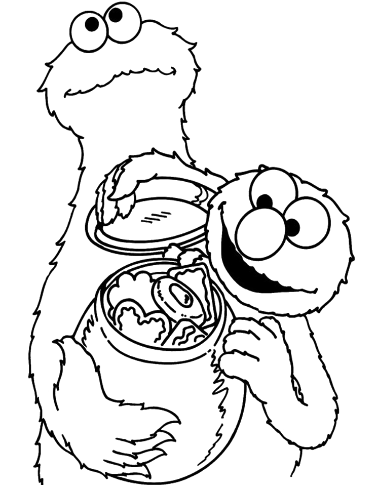 Cookie Monster : Very Happy Cookie Monster With Elmo Coloring