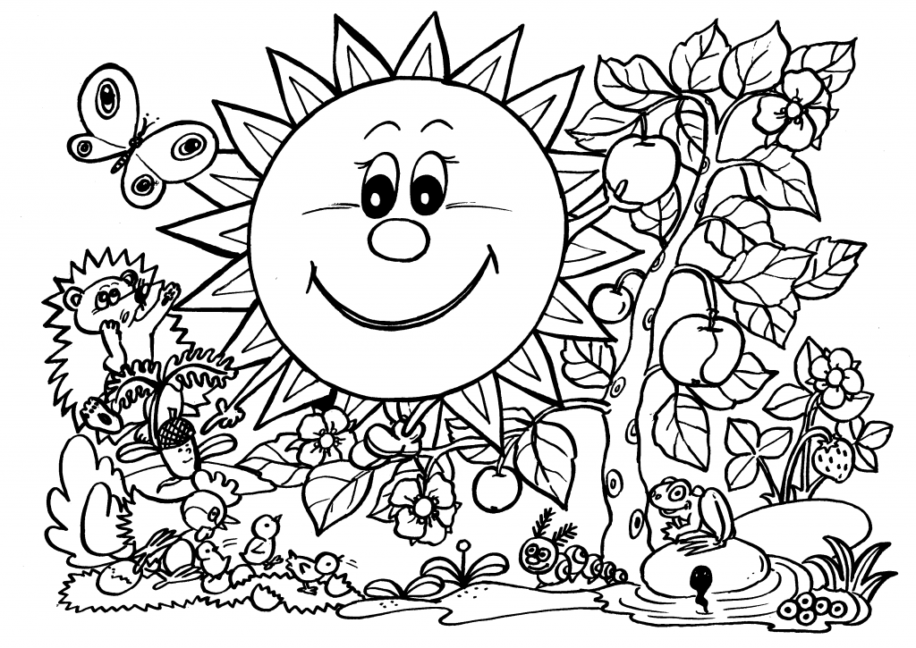 Smile sunflower – Coloring pages with animals and nature, Spring