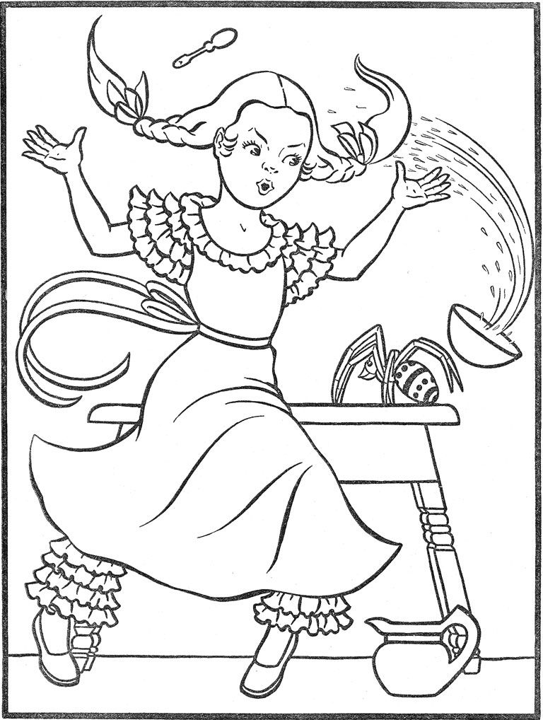 little miss muffet coloring pages-#18