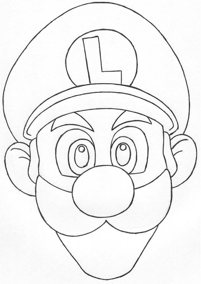 Gallery For Gt Luigi Face Coloring Page Coloring Home