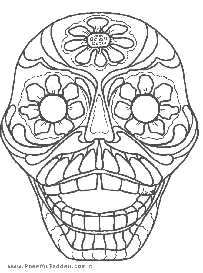 Dia De Los Muertos Skull Coloring Pages Hd Day Of The Dead