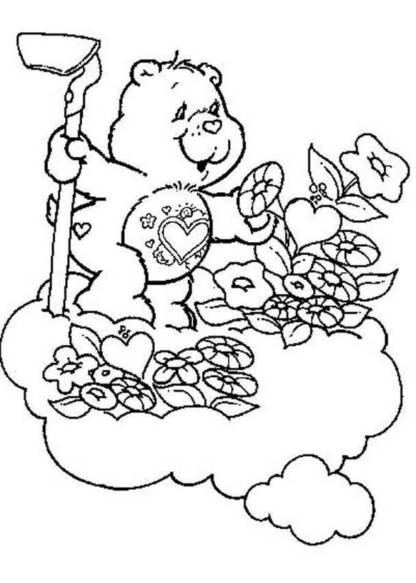 CARE BEARS coloring pages - Tenderheart Bear with flowers