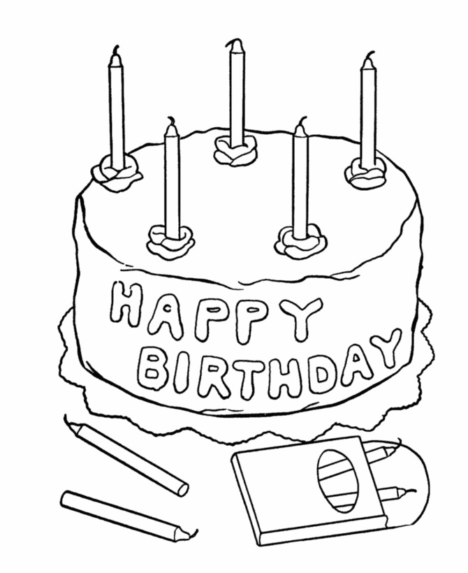 Birthday Cake 6 Candles Colouring Pages