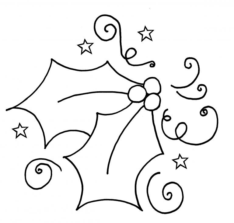 Coloring Pages Of Holly Leaves