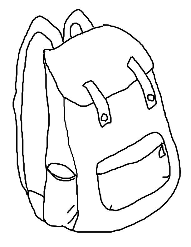 Backpack Printable Coloring Page Back