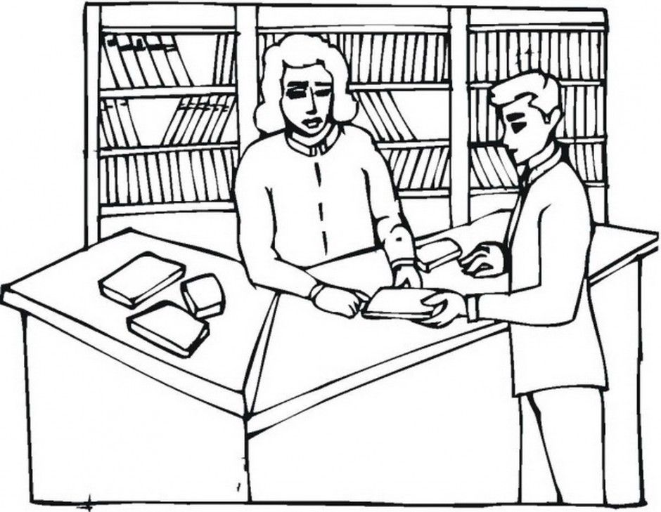 coloring pages librarian - photo#8