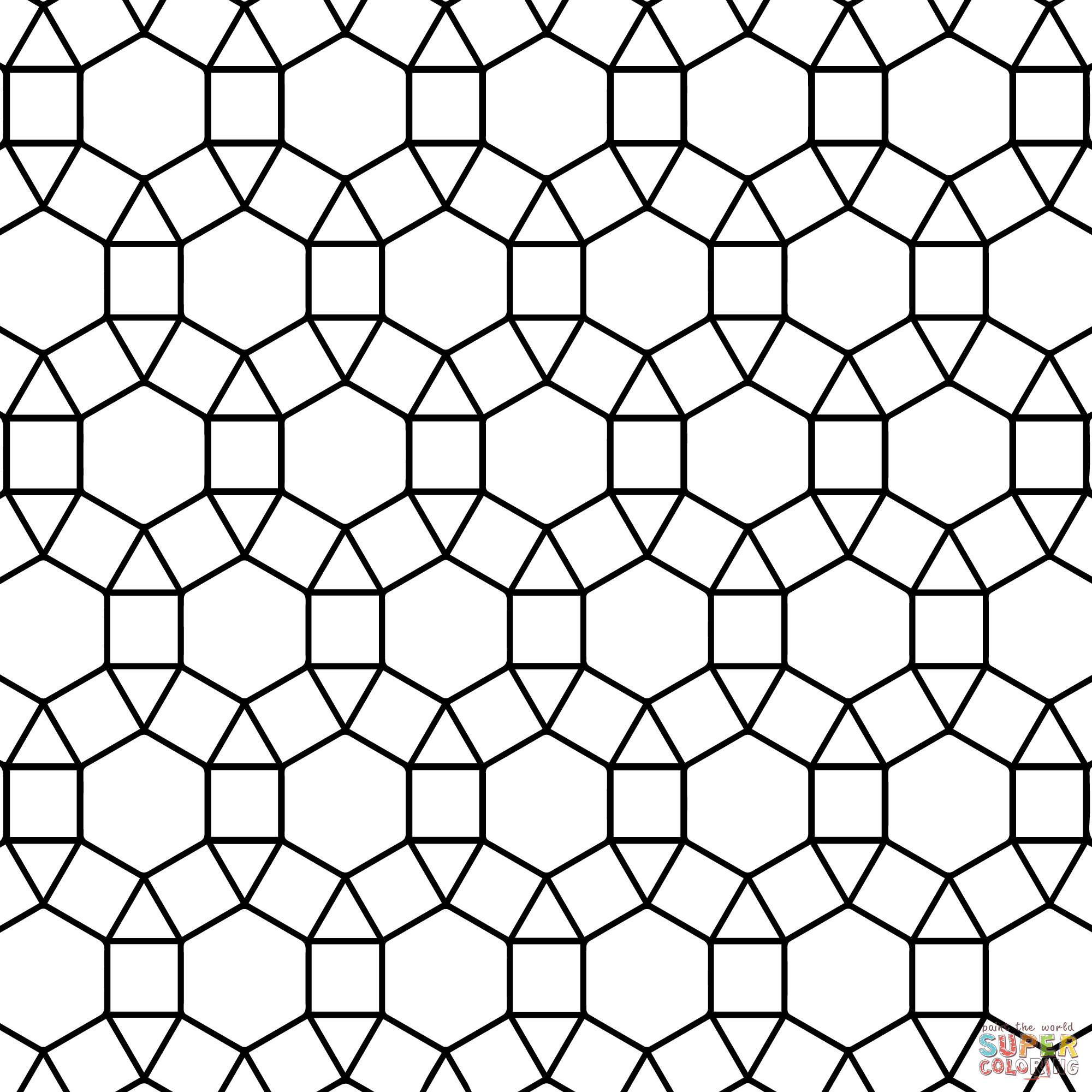 Printables Tessellation Worksheets To Color free tessellations coloring pages az tessellation with hexagon triangle and square page