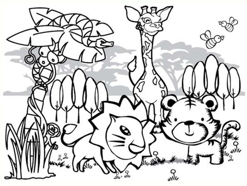Jungle animals coloring pages for kids coloring home for Jungle coloring pages free