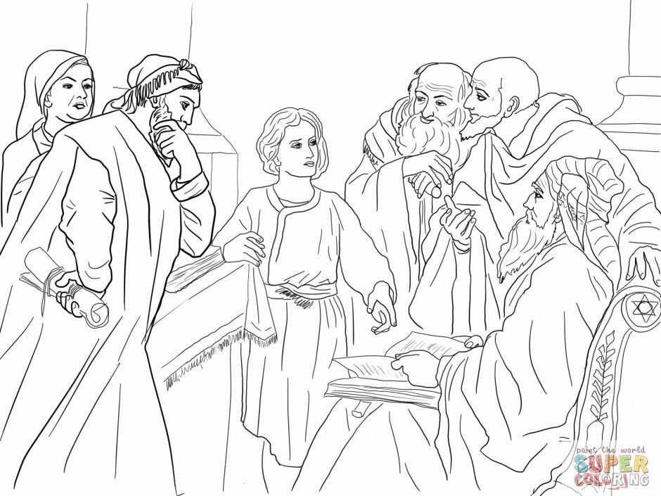 boy jesus in the temple coloring page