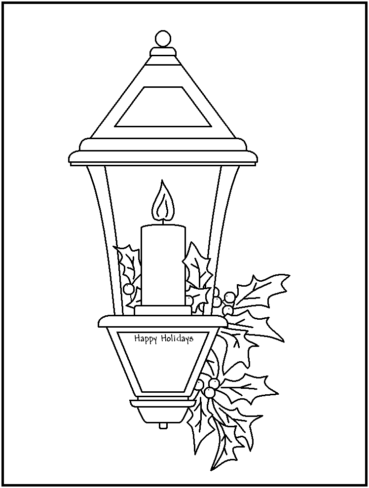 Free christmas candles coloring pages az coloring pages for Lantern template