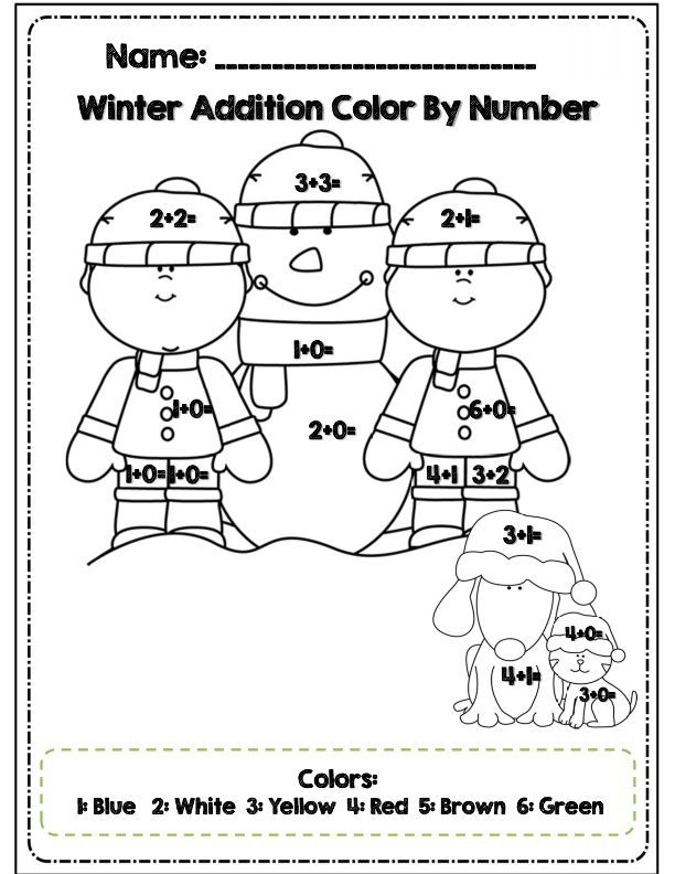 Color By Number Winter Worksheets Coloring Home – Winter Worksheets for First Grade