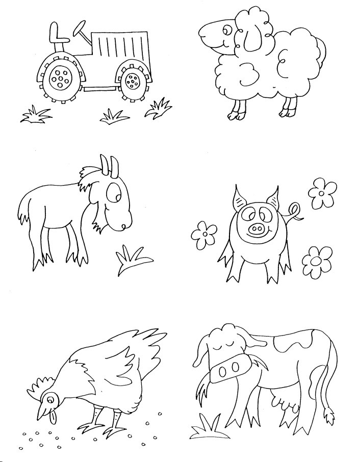 Farm Animals Colouring Pictures For Kids