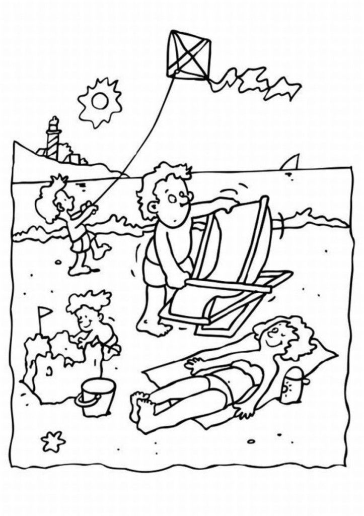 Laying on The Summer Day on Beach Coloring Pages : New Coloring Pages