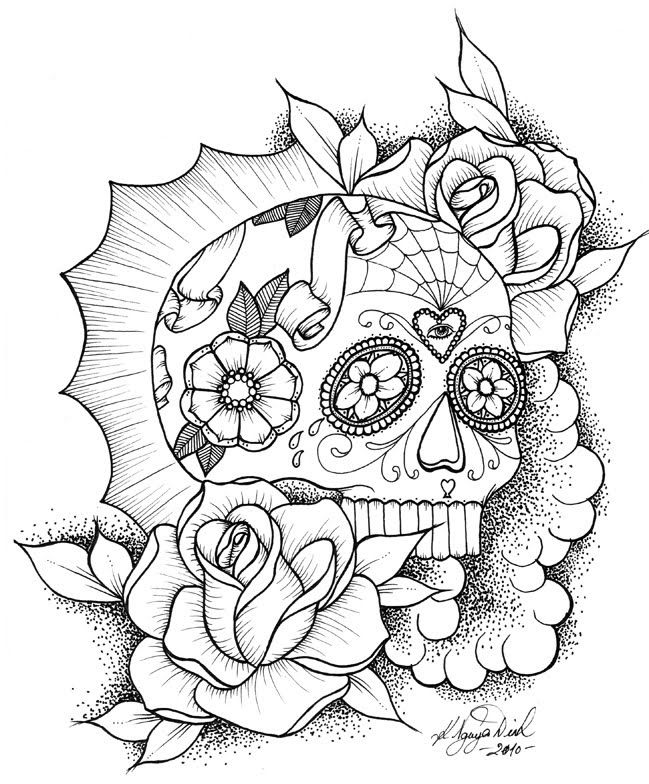 Sugar Skull Coloring Pages Coloring Home Skulls And Roses Coloring Pages