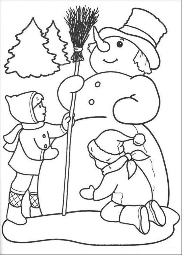 Download Winter Coloring Page Kids Are Making Snowman Or Print