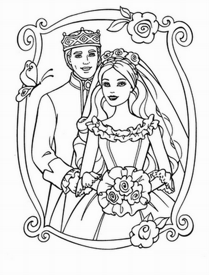 Barbie Coloring Pages, Barbie and Ken Wedding | Kids Cute Coloring