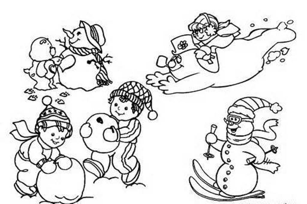 Download Playing Snow Winter Coloring Pages For Kids Or Print