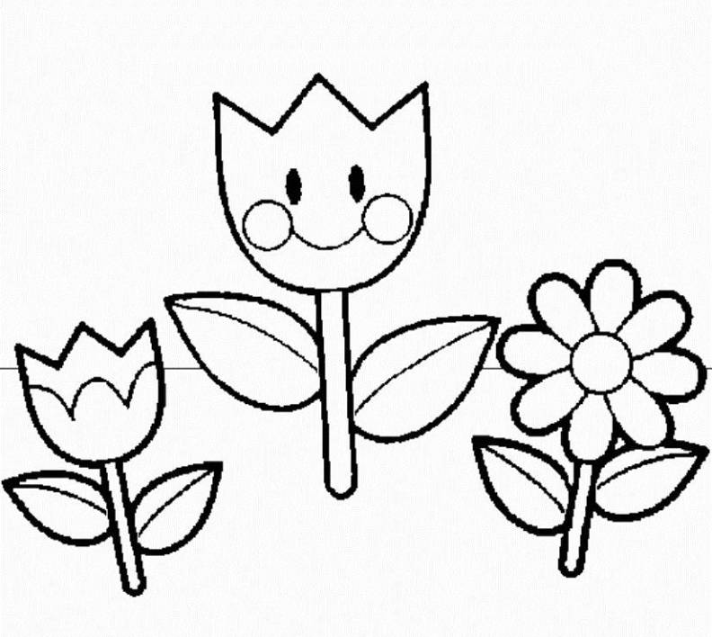 pre school flower coloring pages - photo#2