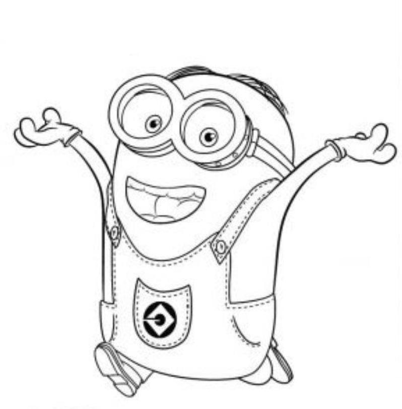 Print Dave Happy Two Eyed Minion Coloring Page Or Download Dave