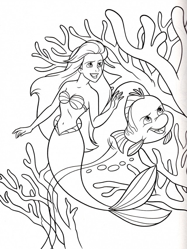 Ariel Flounder Coloring Pages : Ariel and eric coloring pages az